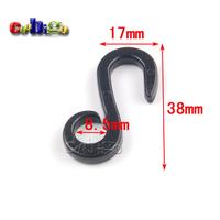 100pcs Pack 38*17mm Black Plastic Dual Hanger&Hook For Garment Textile Packaging Accessories #FLC233-B
