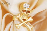 Gold Skull Ring Men's 2014 Fashion Punk Style Skeleton with Rhinestone Rings Men and Women Jewelry Ring Men/Women#b-517
