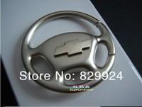 2pcs/lot free shipping steering wheel 3D metal car keychain / vehicle logo key rings