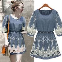 Brand Newest Vintage Fashion Women's Denim Dress Lace Patchwork Ladies' jeans casual Dresses plus sizes