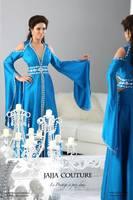 V Neck Arabic Kaftan Rhinestones Blue Satin Abaya Dubai Long Sleeve Evening Dresses