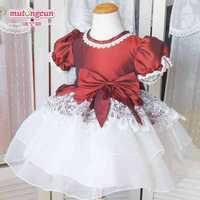 16 2014 wine red-white  flower girl dresses for weddings ball gown girls pageant dresses prom dress children vestido de daminha