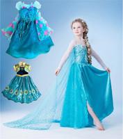 2014 new frozen dress, summer frozen princess gauze dress, Animated cartoon dress, Girls frozen dress. Free shipping!