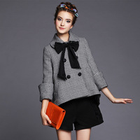 FREE SHIPPING  2014 new women high-end Autumn and winter England style  Houndstooth loose  asymmetric coat  S-5XL