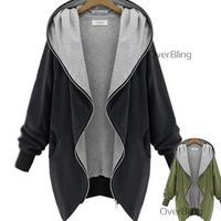 2014 New European Plus Size Women Hoodies Butterfly Long Sleeve Loose Solid Cardigans Casual Sweatshirt Coat Fashion Outerwear