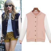 Europe fashion 2014 women's long sleeve college baseball uniform jacket,ladies casual coat bomber jackets