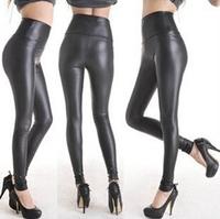 2015 New Classic Fashion Leather Women Leggings High waist tenths pants Free Shipping