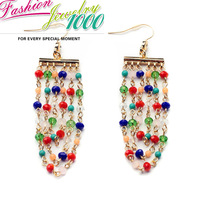 Hot Colorful Multi Strand Chain Dangle Drop Earrings Fashion Charm Crystal Jewelry For Women Engagement Party Dress Accessories