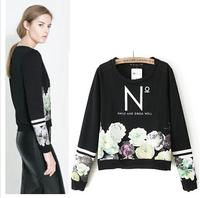 wamen Sweatshirt 2014 new Autumn Winter Hoodies Women Loose Floral Striped Print Hoodies Letter Long Sleeve Tops Shirts