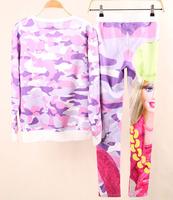 Wamen Harajuku Sweatshirt 2014 new Autumn Winter Women Multicolor Girl Print 3D Hoodies Suits Sport Fashion Sweat Sets