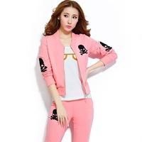 women Sweatshirt 2014 new Autumn Winter Wamen Skull Hoodies Pants Suit Slim sports sweater suit sportswear Parure Women