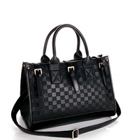free shipping high quanlity PU leather black checkerboard Messenger bag tote bag top-handle Satchel shoulder Strap handbag