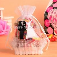 Wedding gift mini drawstring bags, white organza bag