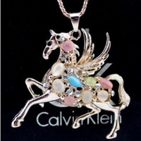 Alloy Beautiful Imitation cat stone Horse Necklace Cute Animal Jewelry D11R16