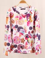 women Sweatshirt 2014 new Autumn Winter 3D Ice Cream Cookies Print Sports Hoodies Women Long Sleevess Soft Tops