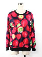 Wamen Harajuku Sweatshirt 2014 new Autumn Winter 3D Strawberry Digital Print Hoodies Women Long Sleeve Loose Sport Shirts Tops