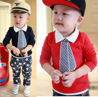 Retail 2014 Children t shirts Boys New Fashion Long Sleeve t-shirt Kids tops False Two Lapel Tie T shirt Free Shipping AB366