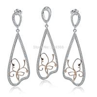 TZ0144 Fashion Jewelry Set Genuine 925 Sterling Silver Jewelry CZ Engagemenet Pendant & Earrings Set for Women Free Shipping
