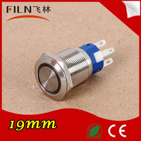 Diameter 19mm 12v LED anti-vandal stainless steel momentary push button switch IP67
