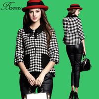 Womens 3/4 Sleeve Houndstooth Pattern One Button Coat Outwear Jacket Vintage Peter Pan Collar Splice Wool Jacket