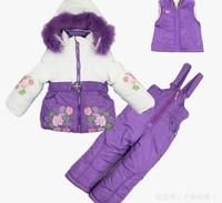 new girls Clothing Set baby girl Ski Suit Windproof Warm Jackets+Bib Pants+Wool Vest kids sports set for girl kids active suit