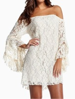 Club Dress Free Shipping Sexy Women's Boat Neck Flared Sleeve Lace Dress Bodycon Dress