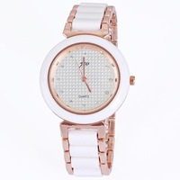 Crystal diamonds brand round white watches ceramic bracelet rose gold plated alloy fashion ladies gift wholesale dropship