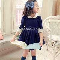 Autumn children's wear new Korean fashion kids doll collar pleated dress for girls-quality trade children's dresses