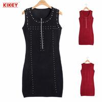 2014 Women Casual Dress Full Sleeves Solid Color Rivet Decoration Vestidos Single Zipper A-Line Woman Dress Free Shipping NZ021