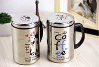 Free shipping Home Office Coffee Milk Tea Mug Water Drinking Cup Stainless Steel 201-300ML cat design
