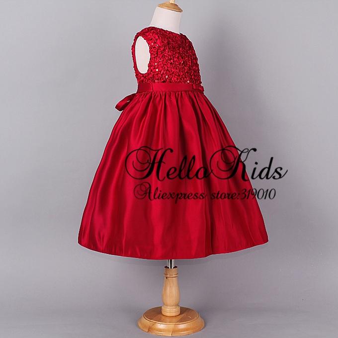 Baby dress top grade solid flower princess girls dresses for kids wear