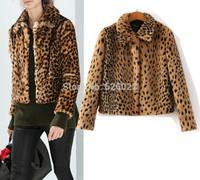 2014 New Autumn Winter Fashion Women's Long Hairy Shaggy Faux Leopard Fur Lapel Long Sleeve Short Slim Jackets Coat Outerwear