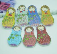Free Shipping 100pcs Cute Russian Dolls Pattern cartoons Flatback  2 Holes Wood Sewing Buttons Fit Scrapbooking AL147