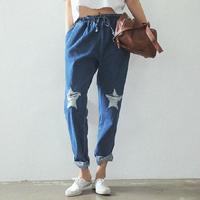 Factory price Harajuku style autumn summer 2014 designer jeans woman,elastic waist lacing ripped jeans,harem denim jean,S/M/L