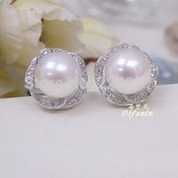 Pearl earrings Wedding natural freshwater stud earrings, 925 sterling silver, princess,8-9mm ,cheap and high qualtiy