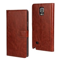 10pcs/lot Free Shipping New Crazy Horse grain Wallet PU Leather Stand Case with card slot For Samsung Galaxy Note 4