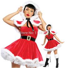 sexy& señora caliente navidad mujeres rojo santa claus vestido de traje traje de terciopelo conjunto navidad vestido de fiesta(China (Mainland))