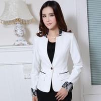 New 2014 Autumn Female White Blazer Feminino Blaser Women Blazers & Jackets Branco Ladies Office Uniform Styles Work Wear