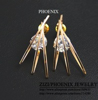 HEE004 Wholesale 2014 New 14K Rose Gold Plated Zirconia Stud Earrings for women brincos bijoux boucle d'oreille Mujer ouro
