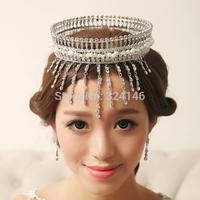 100% handmade tassles crystal big tiaras Gorgeous crystal wedding crown tiaras wedding dress hair accessories