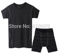Fashion Men Sport Suit Summer Short Sleeve T Shirt+Shorts Training Set Aticve Tights Compress Suit Gym Bodybuilding Tracksuit