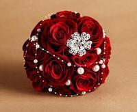 NewNew 2014 European Luxury Stunning Star beaded Silk Rhinestone Pearl champagne Flower Bridal wedding bouquet