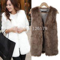 New Women Winter Faux Fake Fur Vests Fashion Warm Sleeveless Plus Size Vest Jacket Coat with Waistcoat Outwear