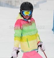 2014 new womens multicolor bar ski jacket ladies colorful snowboarding jacket skee jacket snow parka skiwear anorak waterproof