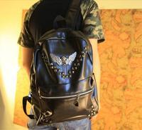 Best Sell New 2014 Mens And Women Vintage Fashion Black Punk Rivet Skull Tassel Leather Korean School Travel Bags Bike Backpack