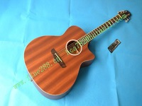 retail new acoustic guitar in brown plywood folk guitar +foam box+free shipping F-2007