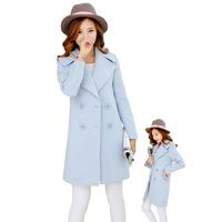 2014 Casacos Femininos Full Turn-down Collar New Autumn And Winter Women's Wear Slim Code Woolen Coat Long Wool Woollen Overcoat