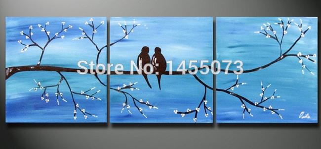 """100% pintura a óleo Handmade pintura romântica pássaros no ramo de árvore """" canto dos pássaros e perfume das flores """"(China (Mainland))"""