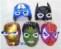 6 pcs kids birthday party gift toys masks Superhero Movie  Hulk  Batman Spiderman Ironman Party Mask Halloween mask with light