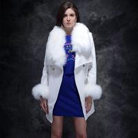TWODS 2014 new women's winter wool coat luxury faux fox fur collar slim woollen overcoat one button long wool outwear ayd 035